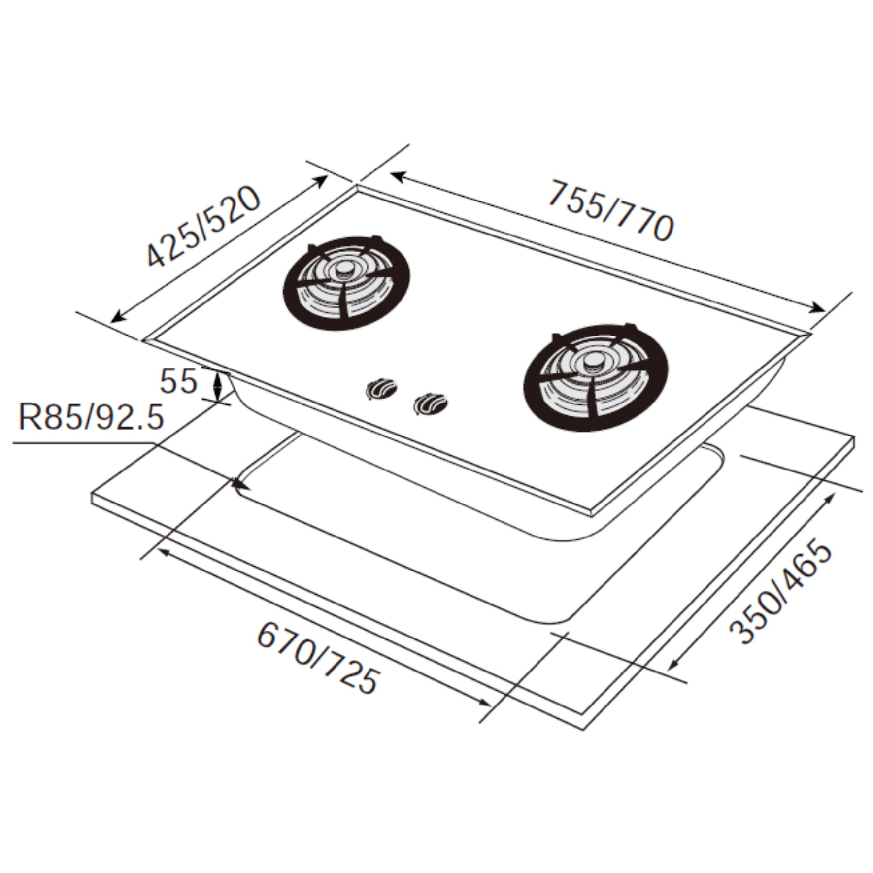 JT-GC299AW 晶焱白色玻璃檯面爐-JT-GC299AW