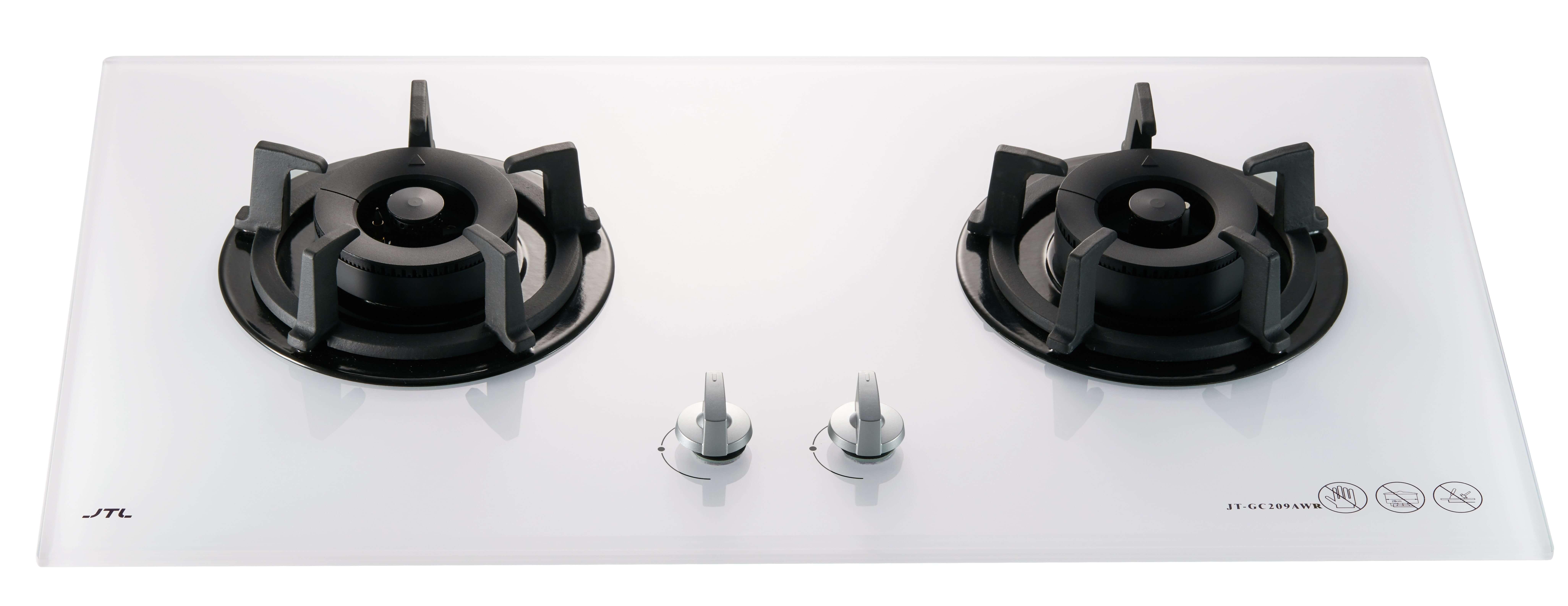 JT-GC209AWR 智能連動雙口白色玻璃檯面爐(即將上市)-JT-GC209AWR