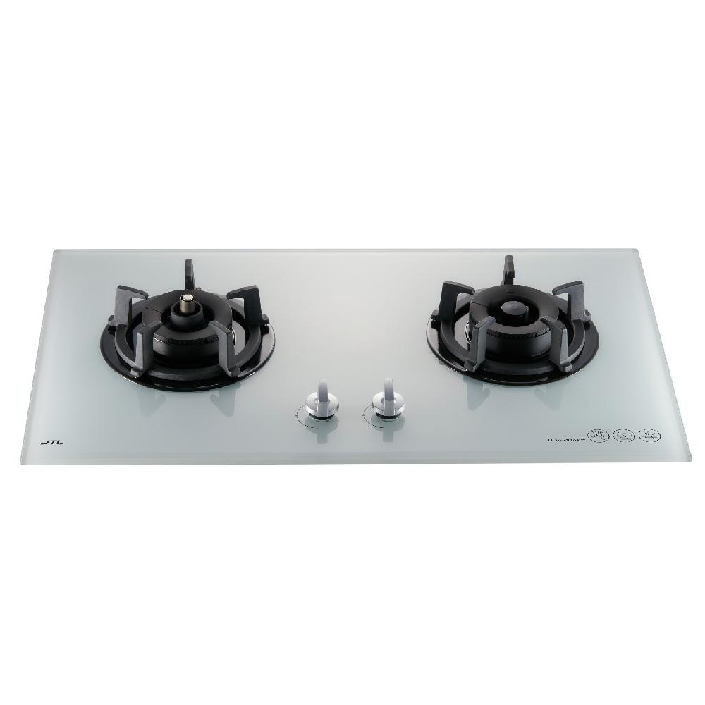 雙口白色玻璃檯面爐